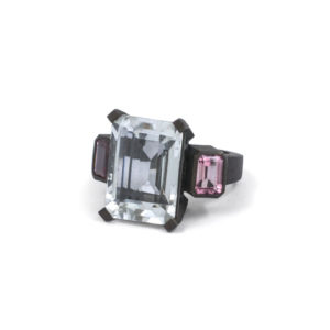 Quartz & Pink Tourmaline Ring